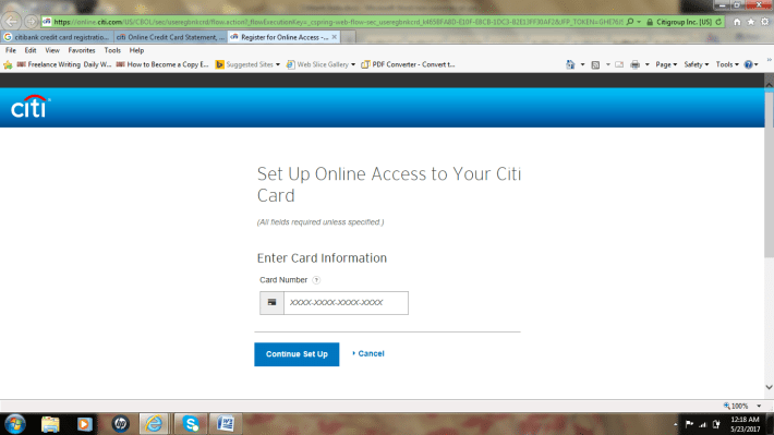 citibank credit card login page