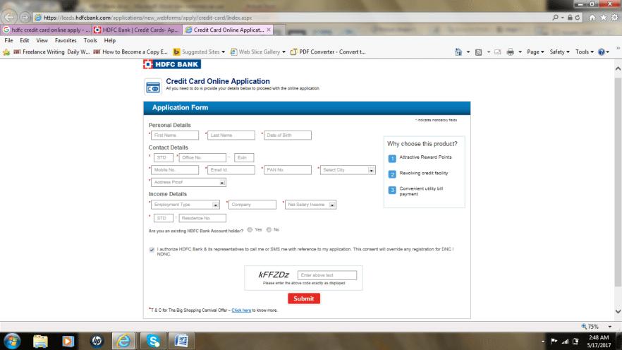 HDFC credit card application