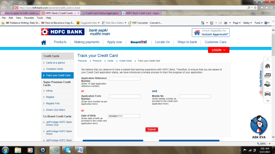 HDFC Credit card tracking