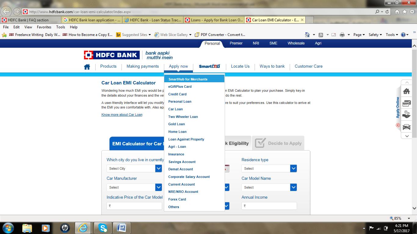 Apply HDFC loans