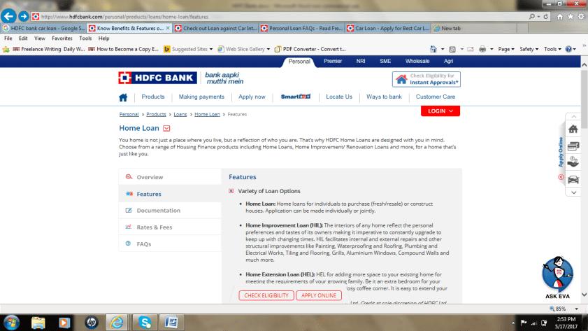 HDFC Loan application