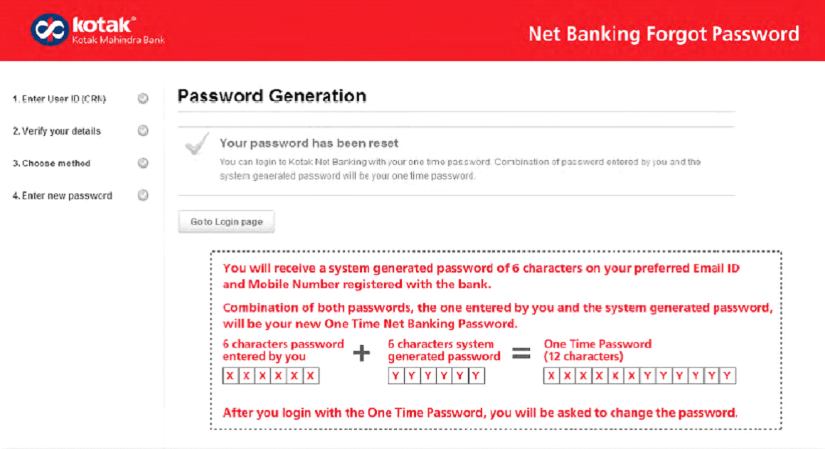 Kotak password
