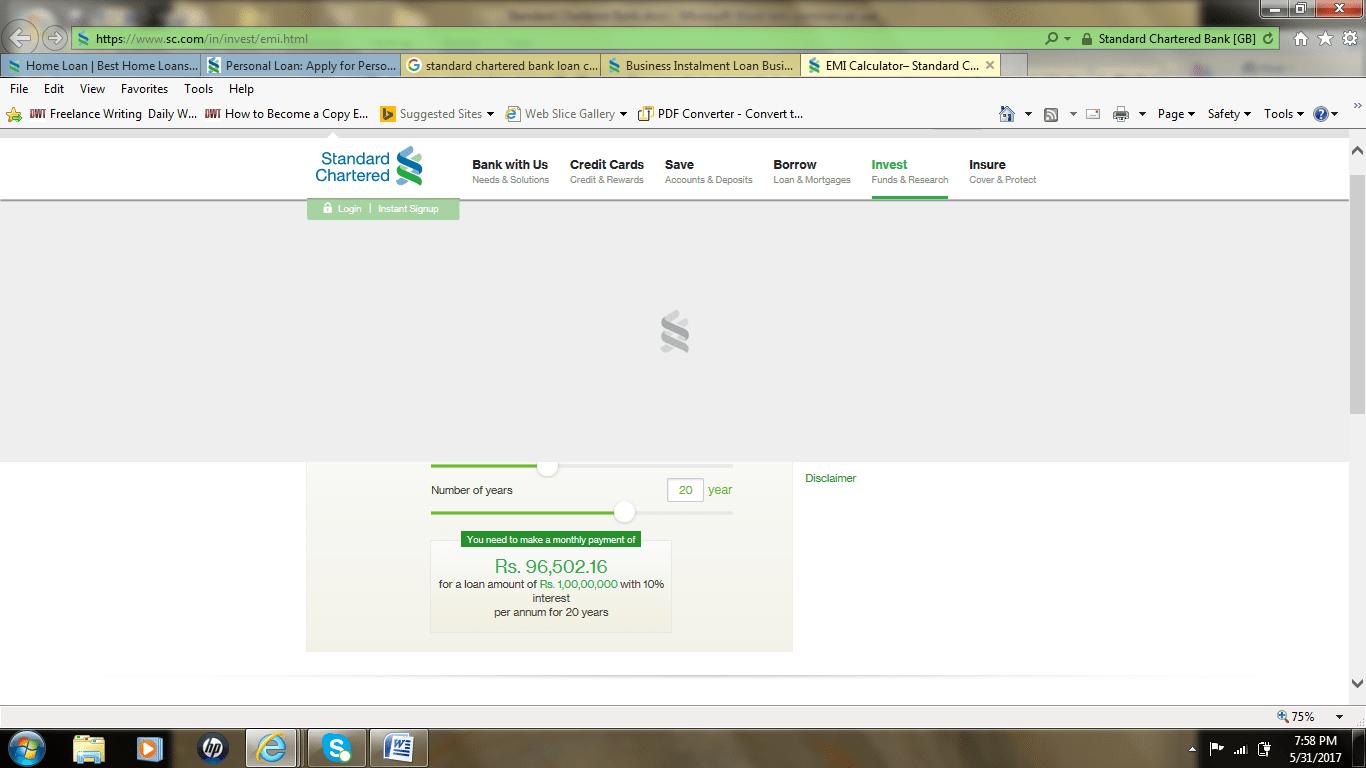 SCB loans emi calculator