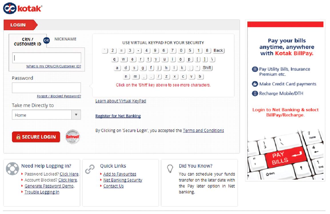 kotak mahindra bank login using mpin