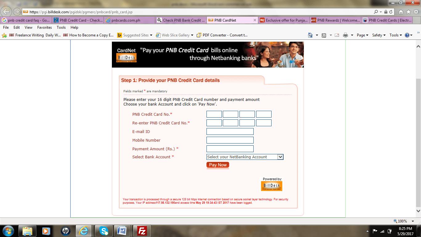 PNB Credit Card Bill Payment Online