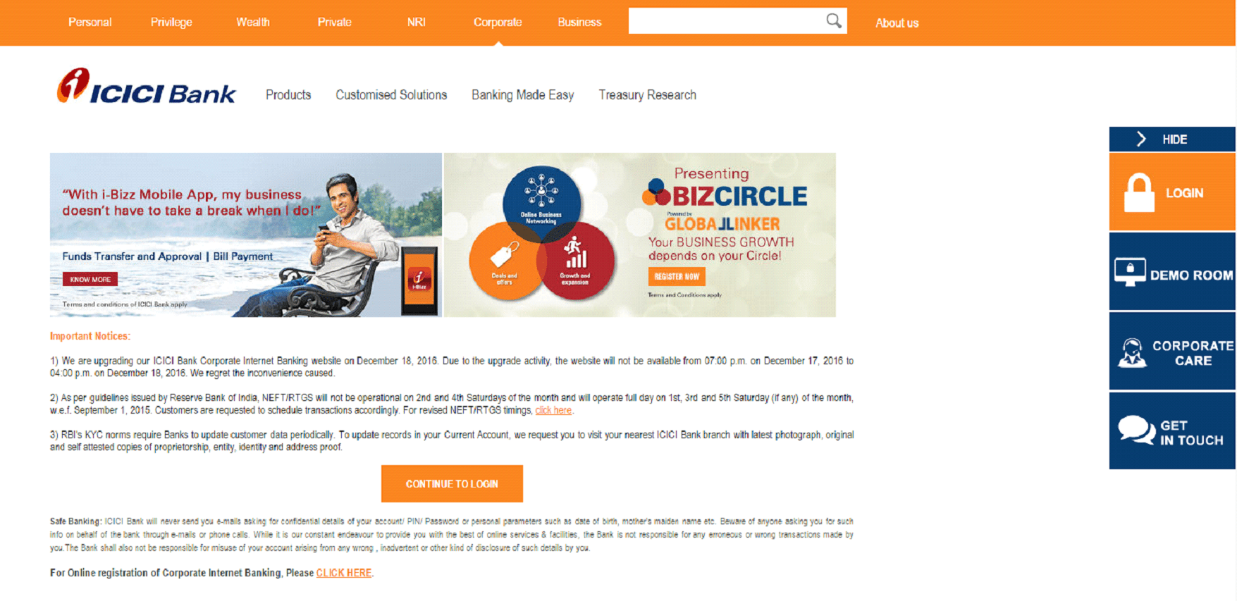 ICICI corporate net banking