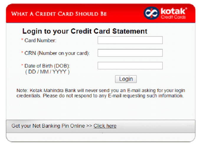 kotak bank credit card e statement