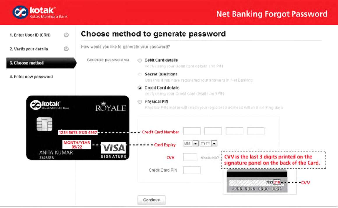 Kotak password generation with credit card
