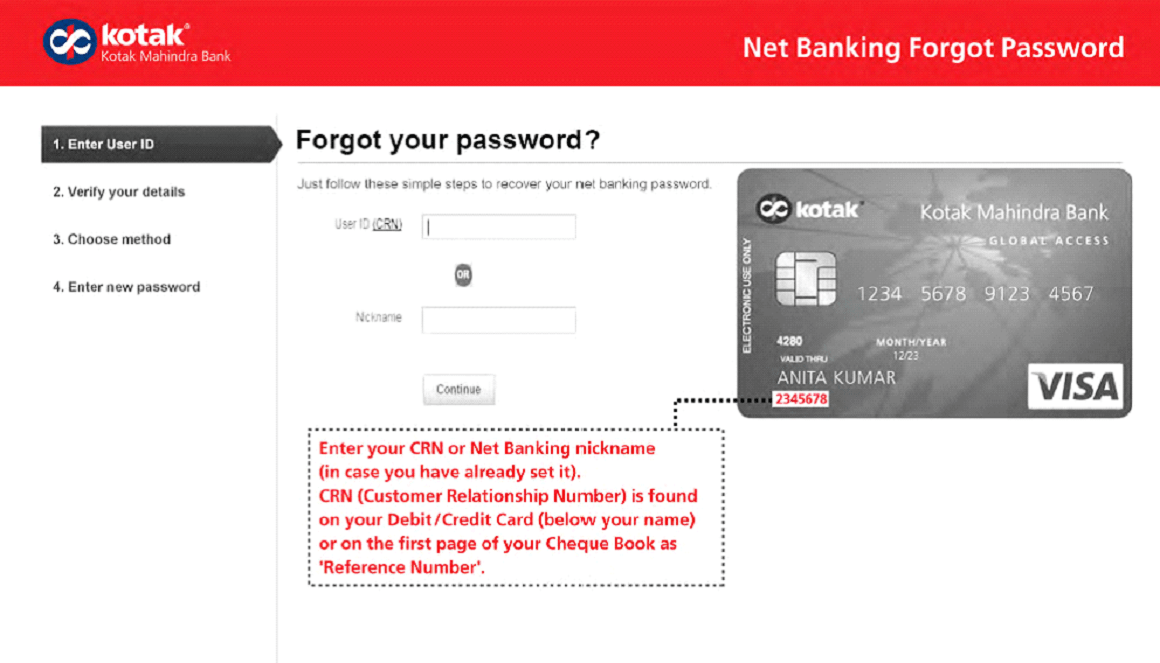 Kotak forgot password
