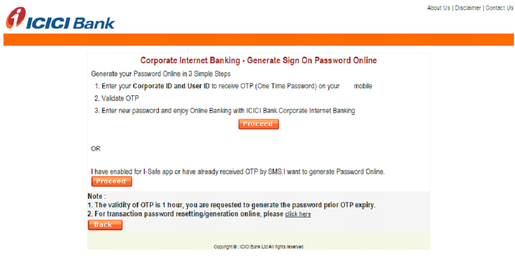 icici net banking corporate login