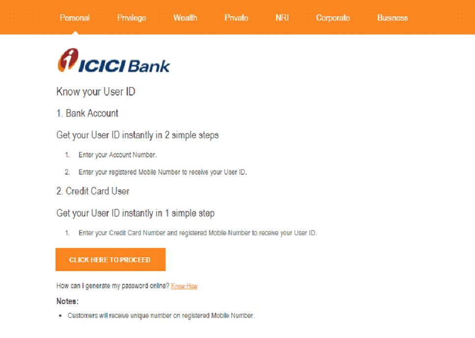 ICICI user id generation