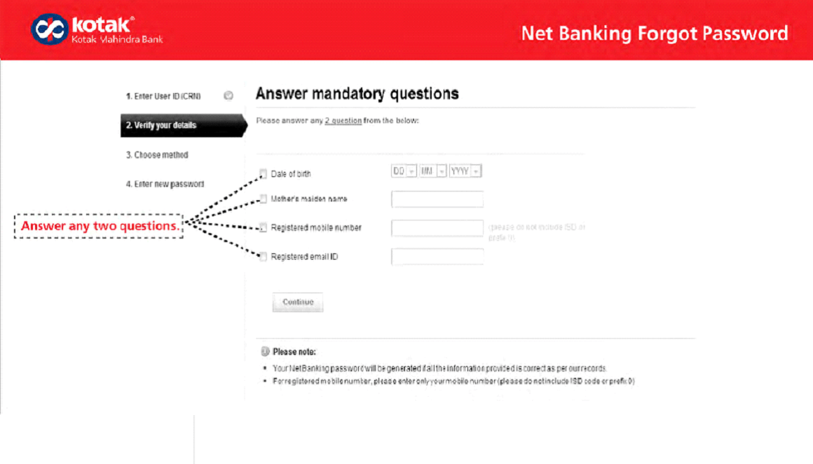 Kotak net banking forgot password