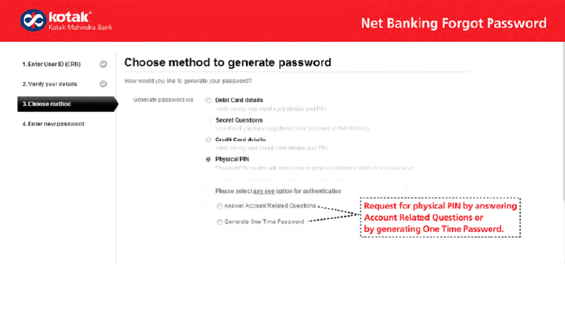 Pin for kotak password generation
