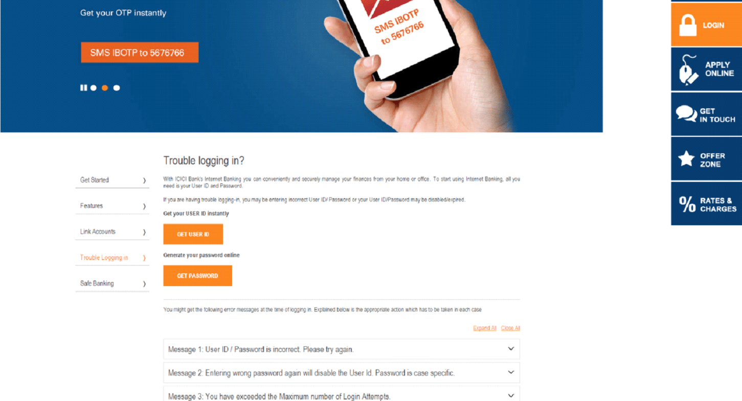 ICICI banking login issues