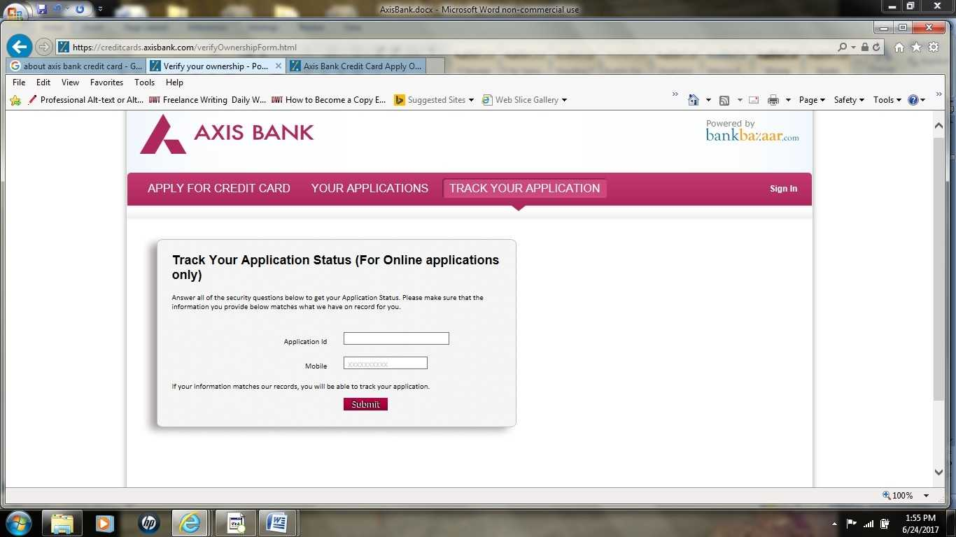 Axis credit card status
