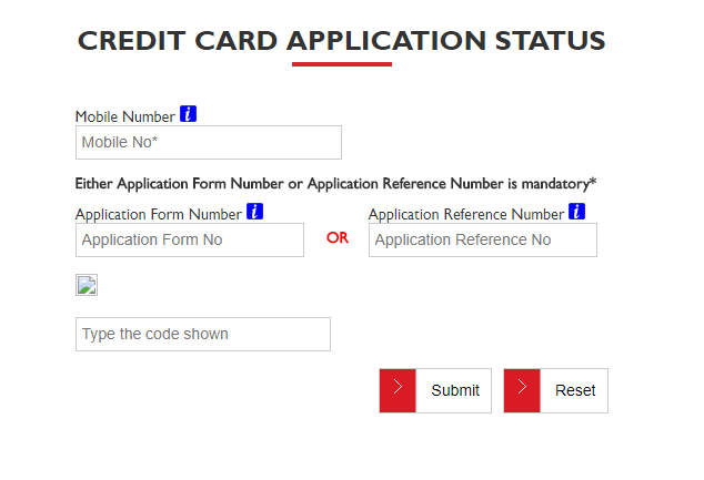 Credit Card Application Status YES Bank
