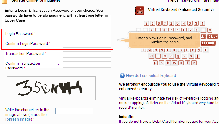 set new password IndusInd bank