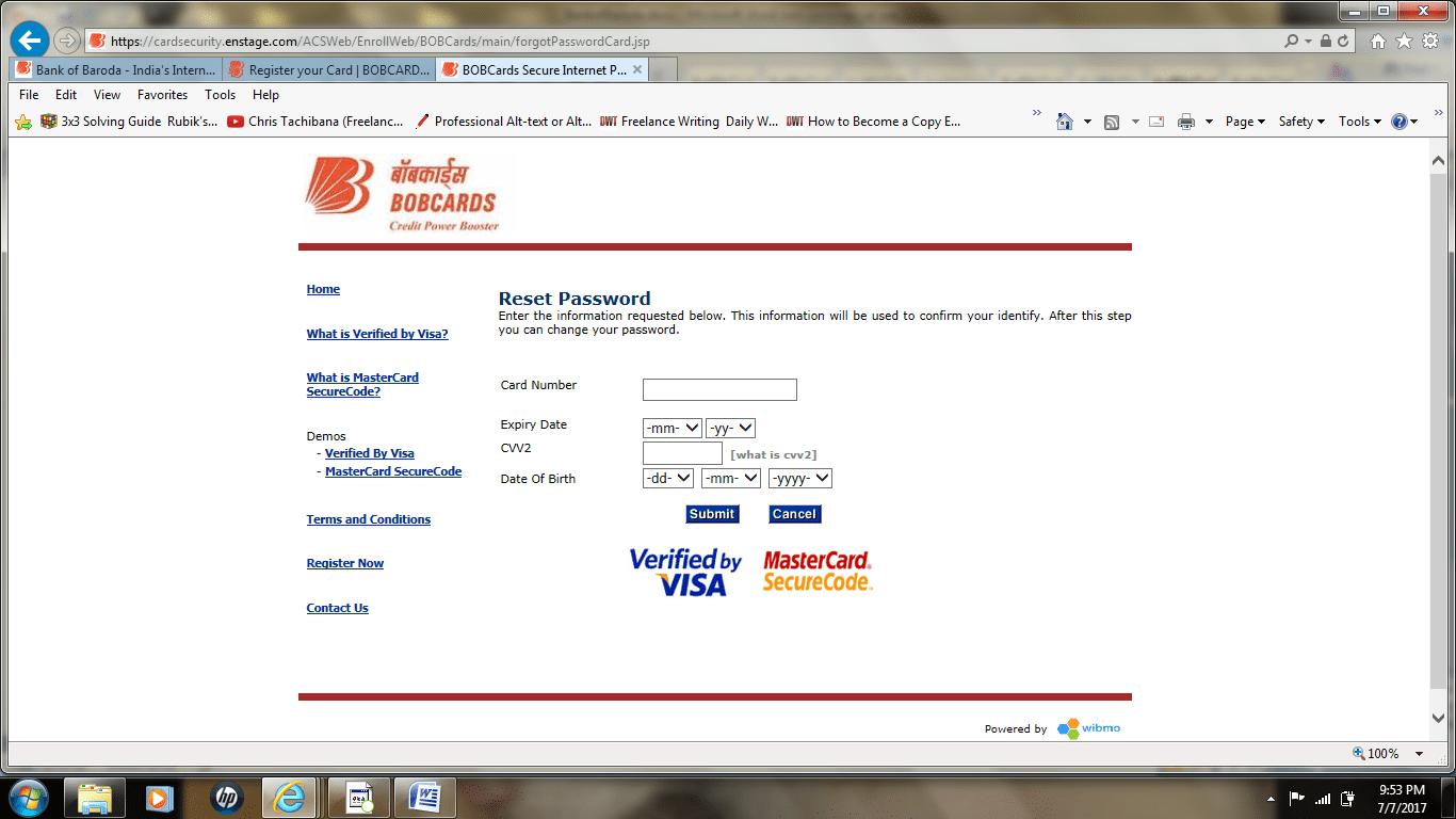 BOB Credit Card reset password