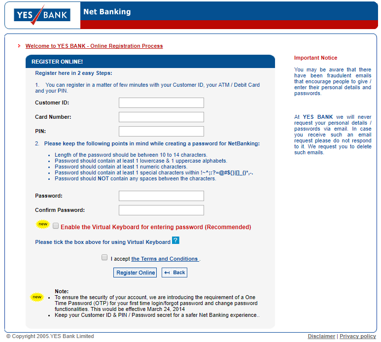 yes bank net banking page