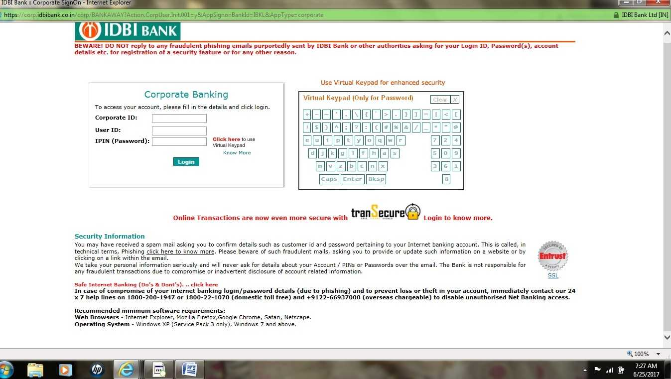IDBI Corporate banking login