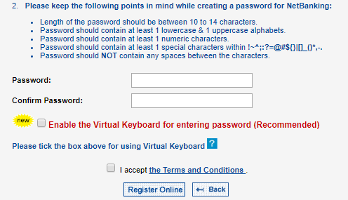 creating password for YES bank