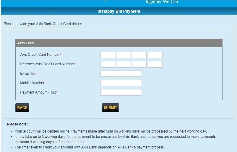 Canara Bank Credit Card Online Payments