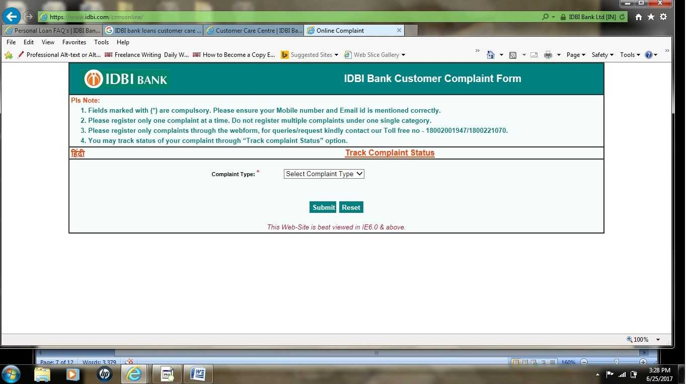 IDBI customer care number