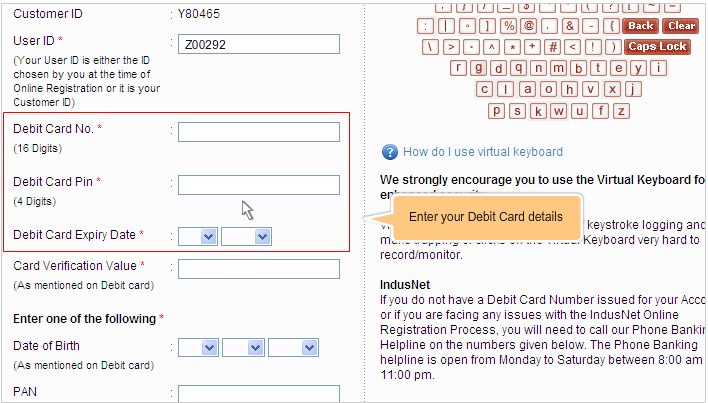 enter debit card details in indusind