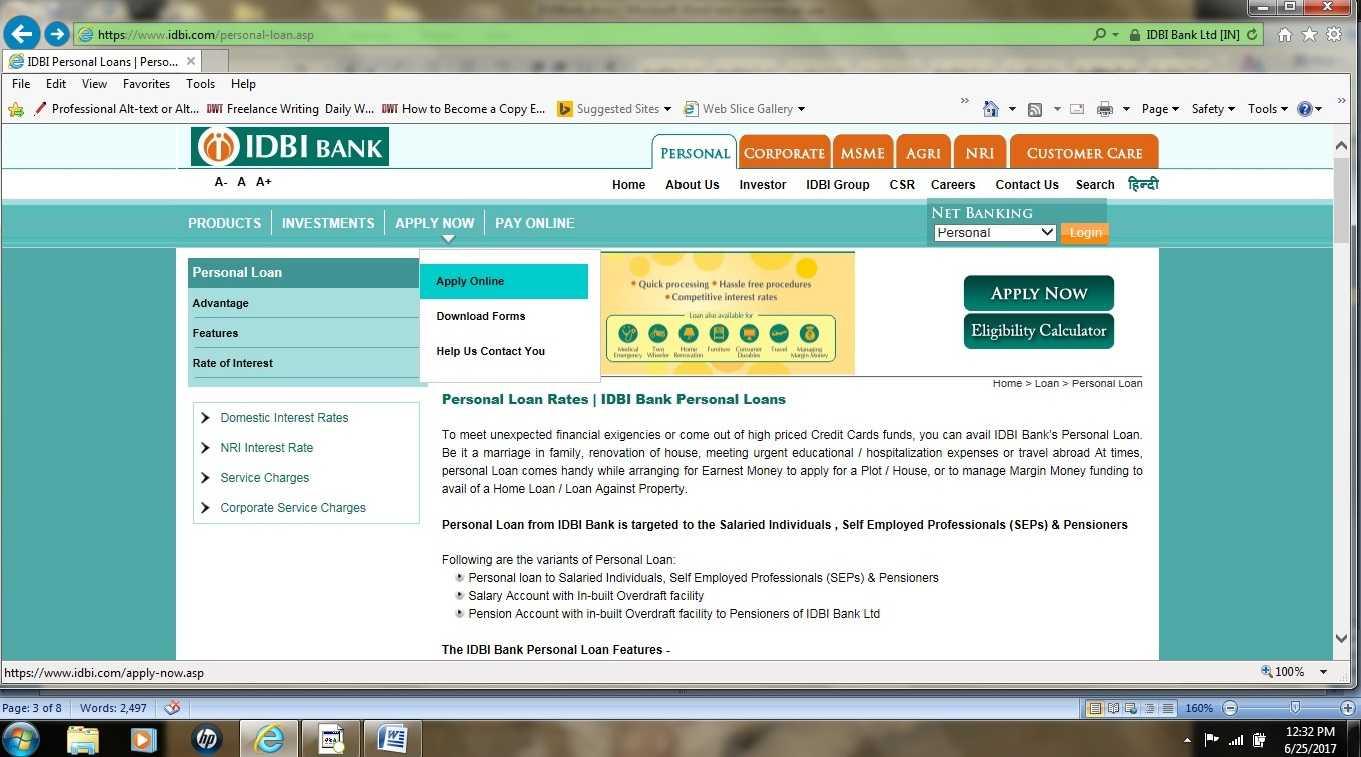 Loan Application for IDBI