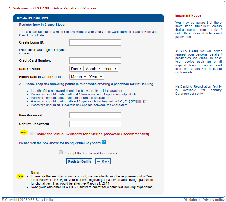 online registration process YES bank