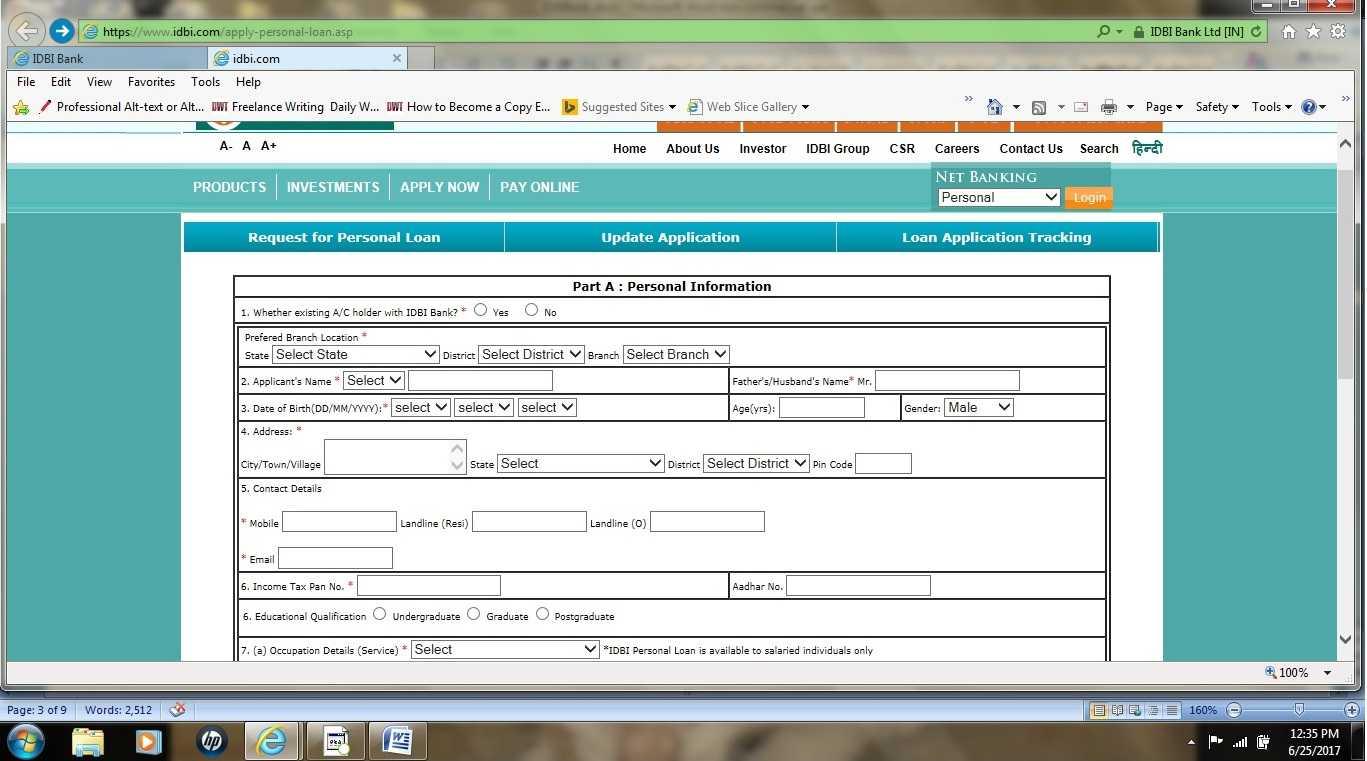 IDBI Bank personal loan application