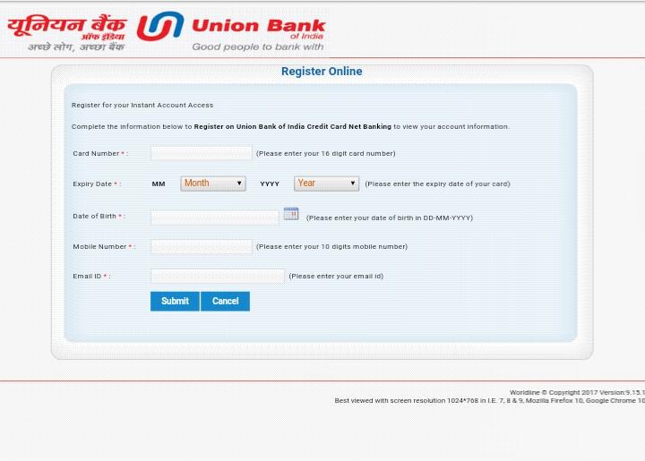 register for credit card net banking UBI