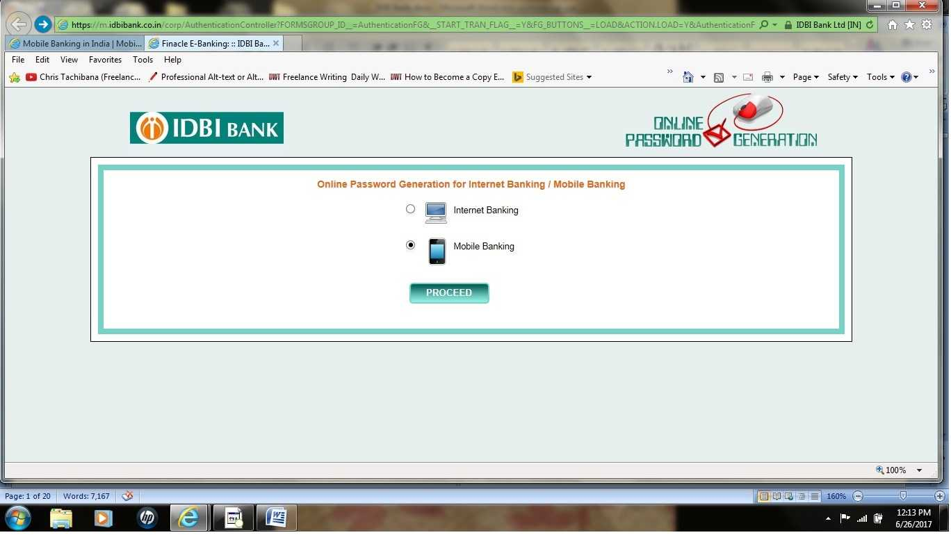IDBI Bank mobile password