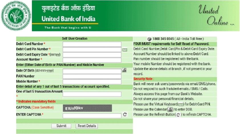 united bank registration process