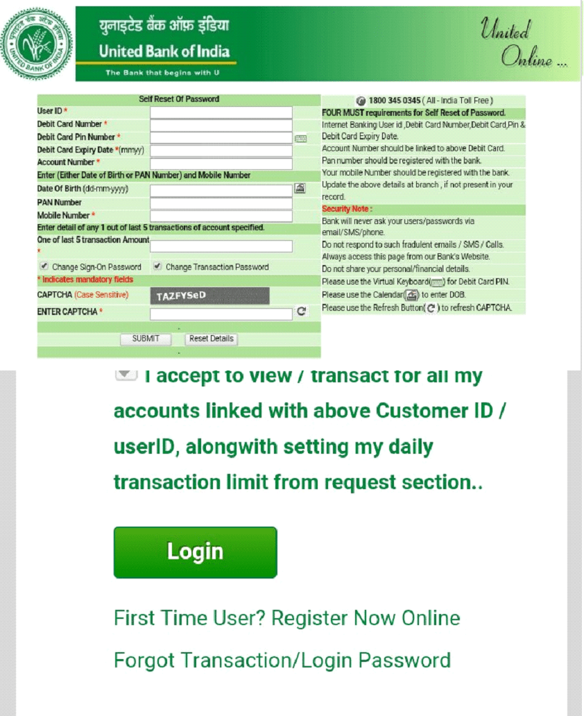 united bank password reset