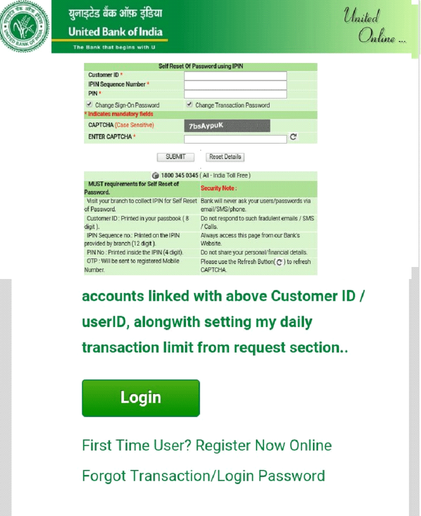 united password reset with IPIN