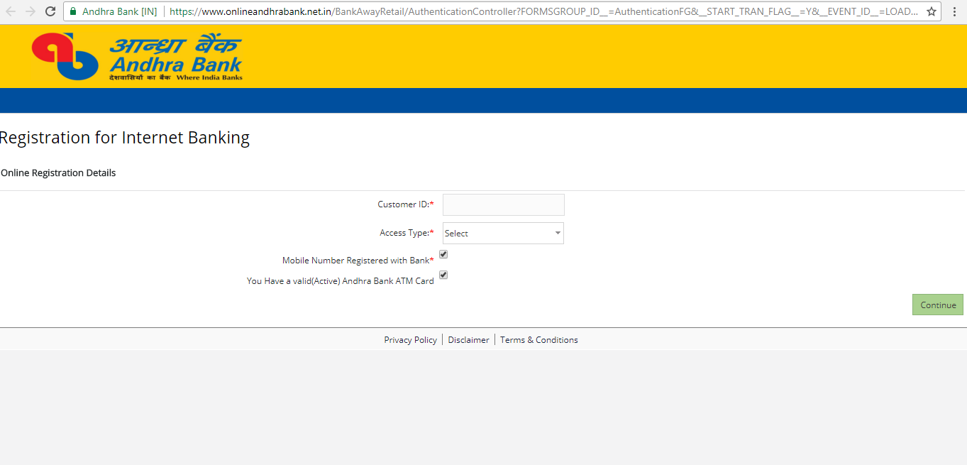 Andhra Bank new user registration