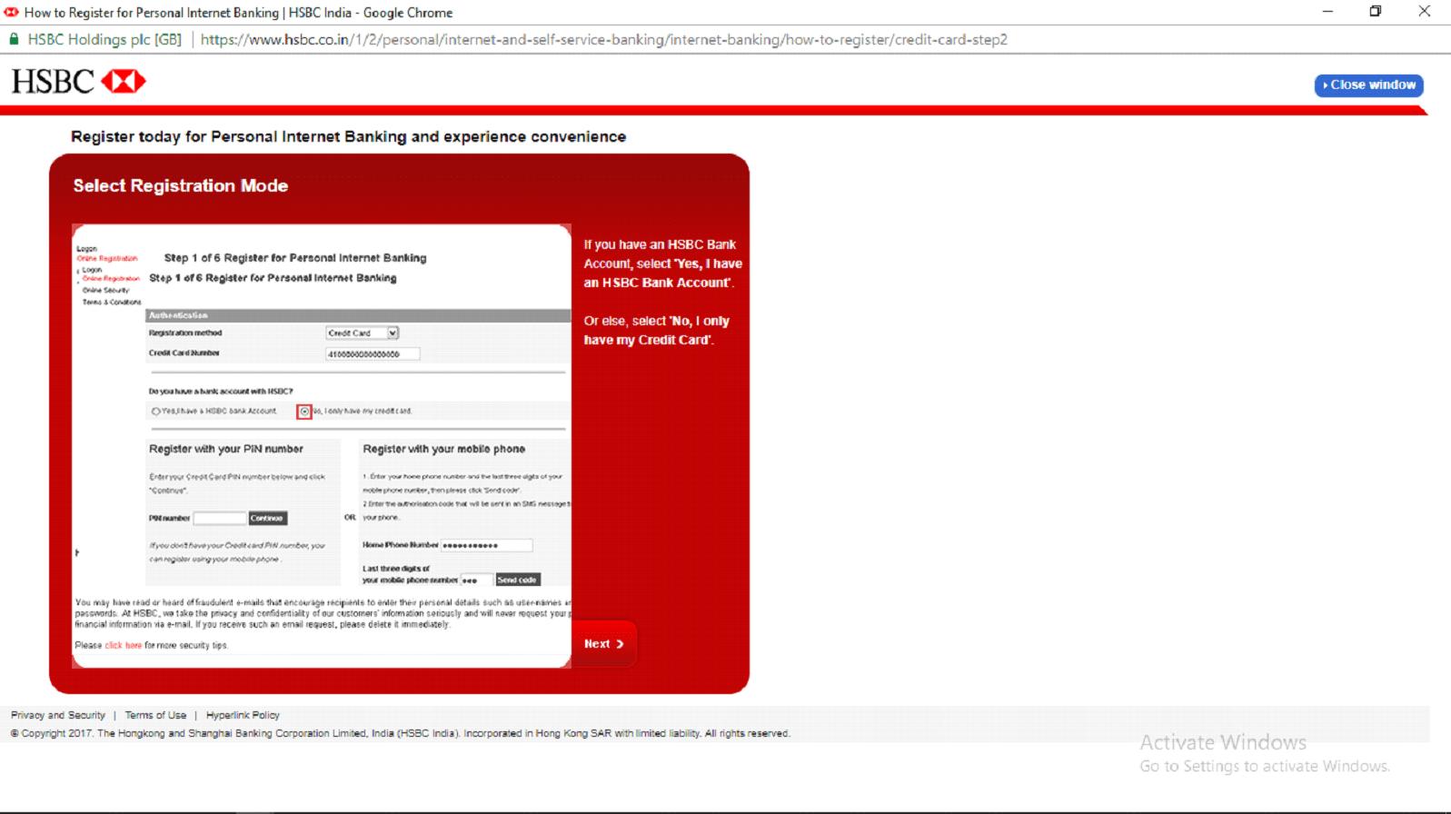 HSBC Credit Cards registration mode