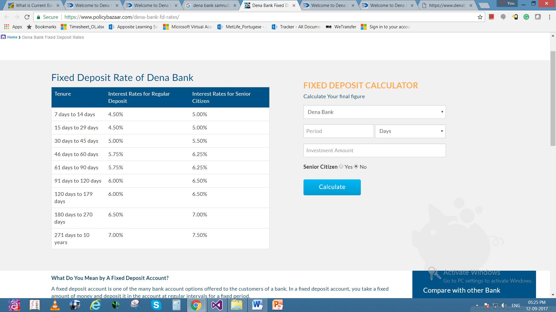 Dena bank fixed deposit account
