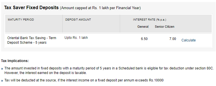 tax saving deposits of OBC
