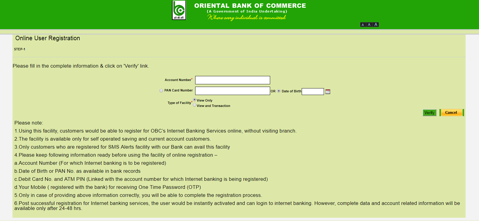 registration page OBC
